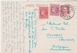 Yvert 716B CP1 Entier Complément Affranchissement Cérès 1947 Pour Souvret Belgique Cachet Charleroi - Entiers Postaux