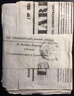 """France Journal Politique """"le Charentais""""  Sous Bande Avec Dateur Type 13 Du 10 Fevrier 1839 + Cachet PP   TTB - Periódicos"""