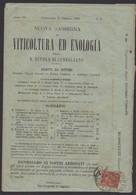 """Revue """"VITICULTURA ED ENOLOGIA"""" Avec 2Cmi Brun Rouge De 1863 Seul Sur Document Oblt CONEGLIANO - Marcophilie"""