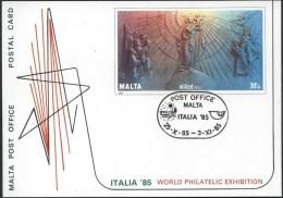 1985 Malta, Italia 85 Cartolina Postale Usata - Malta