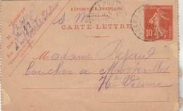 Yvert 138 CL1 Date 344 Cachet Trésor Et Postes 8/10/1914 Pour Morterolles Haute Vienne - Entiers Postaux