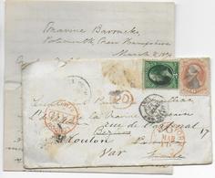 USA - 1874 - YT N° 41+ 42 (RARE) Sur LETTRE (MANQUE UN TIMBRE) De PORTSMOUTH (NEW HAMPSHIRE) => BEZIERS => TOULON - Cartas