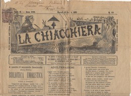 """Journal """" LA CHIACCHIERA"""" Avec 2Cmi/ 1,75 Lire Coli  Postal Brun De 1890 Seul Sur Document Oblt - 1861-78 Victor Emmanuel II"""