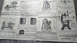 Dépliant établissement Chéry-dion Constructeurs Montrichard Machine Scies Barattes Agriculture - Old Paper