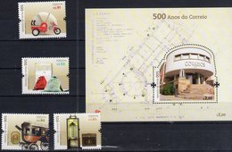 PORTUGAL, 2018, MNH, POST, 500th ANNIVERSARY OF PORTUGUESE POST, VEHICLES, WAGONS, MAIL BAGS,  6v+S/SHEET - Post