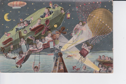 CP 1941 :Beaucoup D'enfants Dans Un Zeppelin Et à Bord D'une Montgolfière ( Colorisée ) - Taferelen En Landschappen