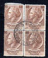 """XP3384 - REPUBBLICA , 100 Lire Testoni QUARTINA Usata Con Filigrana Ruota: La Coppia Di Sinistra """"STRETTA"""" - 6. 1946-.. Repubblica"""