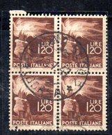 """XP3457 - REPUBBLICA , Democratica 1.20 Lire QUARTINA Usata : Occhiello Della """"R"""" Pieno - 6. 1946-.. Repubblica"""