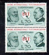 """XP3441 - REPUBBLICA , 70 Lire UIT Coppia Integra **: Un Esemplare Con Punto Tra """"U"""" Ed """"I"""" - 6. 1946-.. Repubblica"""