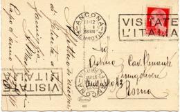 CARTOLINA 20 CENT. IMPERIALE - TIMBRO : VISITATE L'ITALIA - SPEDITA DA ANCONA PER ROMA IL 31.12.1937 - 1.1.1938 - Storia Postale