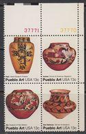USA 1977 Pueblo Art 4v (+margin, Corner) ** Mnh (41792F) - Nuovi