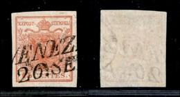 ANTICHI STATI - LOMBARDO VENETO - 1850 - 15 Cent (3) Usato - Parte Di Filigrana Sulla Destra - Stamps