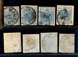 ANTICHI STATI - LOMBARDO VENETO - 1855/1856 - 45 Cent (11-12-22) - 4 Usati - Ottimo Insieme - Timbres