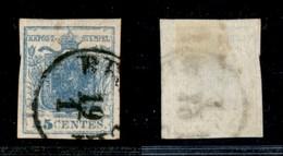 ANTICHI STATI - LOMBARDO VENETO - 1851 - 45 Cent (17 - Carta A Coste) Usato - Costolatura Leggera - Cert. AG - Timbres