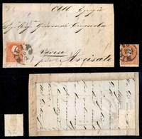 ANTICHI STATI - LOMBARDO VENETO - 1858/1859 - 5 Soldi (25) - Singolo Usato (Milano 26/12) + Isolato Su Frontespizio Per  - Timbres