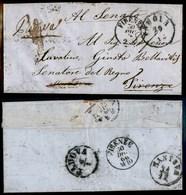 ANTICHI STATI - LOMBARDO VENETO - Padova 29.12 (1866) - Lettera Per Firenze Diretta Al Senatore Bellavitis (non Affranca - Timbres