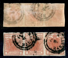 ANTICHI STATI - AUSTRIA TERRITORI ITALIANI - 3 Kreuzer (3) Con Decalco - Striscia Orizzontale Di 3 Usata A Trieste - Stamps