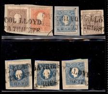 ANTICHI STATI - AUSTRIA TERRITORI ITALIANI - Col Lloyd Da Trieste - 6 Kreuzer (4y) Usato + 10 Kreuzer (15) + 5 Kreuzer ( - Stamps