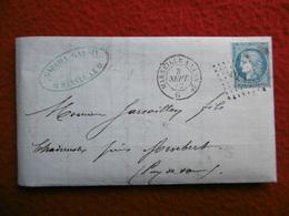 CACHET MARSEILLE A LYON LOSANGE CACHET BUREAU DE PASSE 2365 MARSAC AMBERT - 1849-1876: Classic Period