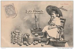AL 2 -LES FRUITS  -FILLETTE MANGEANT UNE POMME -  CAGEOT DE POMMES - PANIER DE POMMES- EDITEUR  BERGERET - 2 SCANS - Cultures
