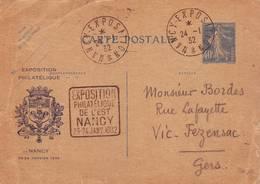 226 DA 40 C Semeuse CP Expo Philatélique De Nancy 1932 Club Philatélique Lorrain - Entiers Postaux