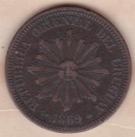 REPUBLICA ORIENTAL DEL URUGUAY. 2 CENTESIMOS 1869 A PARIS. KM# 12 - Uruguay