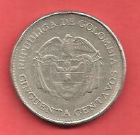 50 Centavos , COLOMBIE  , Cupro-Nickel , 1963 , N° KM # 217 - Colombie
