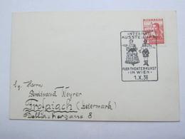 1936 , Wien - Theaterkunst Ausstellung  , Klarer Sonderstempel Auf Karte - Briefe U. Dokumente