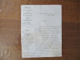 22 NOVEMBRE 1836 SOISSONS MINISTERE DE LA GUERRE DIVISION DES SUBSISTANCES MILITAIRES COURRIER A LA MAIRIE DE LA FERTE M - Manuscripts