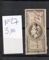 DT186J FRANCE 1 TIMBRES OBL FISCAL FISCAUX REVENUE REVENUES EFFETS COMMERCE N°27 NAPOLEON III - Revenue Stamps