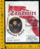 Etichetta Vino Liquore Sudtiroler Vernatsch 1992  St. Michele  BZ - Altri