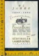 Etichetta Vino Liquore Hotel-Restaurant-Cafè Frags Burg Merano  BZ - Altri