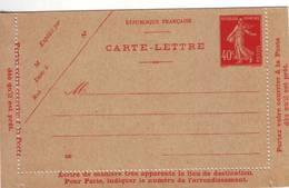 238 DA Carte Lettre 40 C Semeuse - Cartes Postales Types Et TSC (avant 1995)