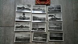 Pochette Bateaux De Guerre 12 Petites Photos Croiseur Cuirassé Torpilleur Argonaute - Guerra