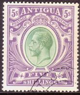ANTIGUA 1913 SG #51 5sh Used CV £150 Wmk Mult.Crown CA - 1858-1960 Colonie Britannique