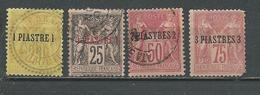 LEVANT Scott 1, 2, 3, 4Yvert 1, 4, 5, 2 (4) O Et * 35,00 $ 1895-1901 - Levant (1885-1946)