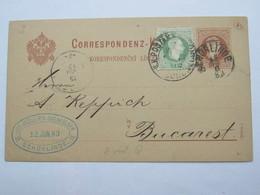 1883 , SCHÖNLINDE   , Klarer Stempel Auf Ganzsache Nach Bukarest - Covers & Documents