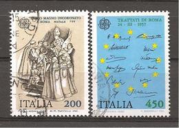 ITALIA - 1982 EUROPA: CARLO MAGNO E TRATTATI DI ROMA  2v.  Usati - Storia