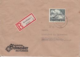 Deutsches Reich  Brief Einschreiben Reutlingen / Lichtenstein Sachsen, Unsere Wehrmacht 50 Pf Frankatur, Rekomandiert - Germany