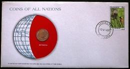 Numisletter Botswana  Coin UNC 1 Thebe 1976 + Stamp Michel Nr 205 - Botswana