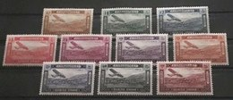 GL Syria 1934 Mi. 386-395 Air Mail Complete Set Of 10 Airplane Over Bloudan High Catalogue Value 280$ MLH - Syria