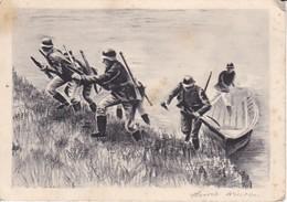 AK Deutsche Soldaten Mit Boot Im Angriff - Sturmtruppen - 2. WK (39246) - Weltkrieg 1939-45