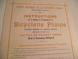 Société Nationale De La Bicyclette Pliante, 1901, Les Fils Peugeot Frères - Reclame