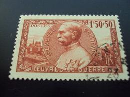 """1940   -timbre Oblitéré N° 456   """"     Galliéni """"         Côte     4.5          Net   1.5 - Frankreich"""