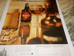 ANCIENNE PUBLICITE BIERE  SE BOIT DANS LE VERRE  PELFORTH  1968 - Alcools