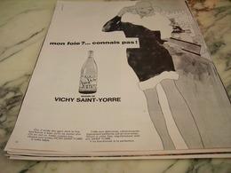 ANCIENNE PUBLICITE MON FOIE CONNAIS PAS VICHY SAINT YORRE 1968 - Affiches