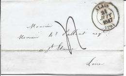 ALAIS GARD 3 Lettres Avec Cachet Type 13 (1847, 1848, 1848) Dont 1 Avec Arrivée Type 15 Rouge à St Etienne - Marcophilie (Lettres)