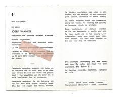 D 599. JOZEF VANHEEL - Rustend Veldwachter - Vuurkruiser 1914/18 - °LUMMEN 1893 / +Salvatorkliniek HASSELT 1973 - Images Religieuses