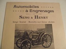 AUTOMOBILE à Engrenage, SENG Et HENRY ,1902, Livret  Publicitaire - Publicités
