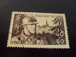 """1940   -timbre Oblitéré N° 451   """"    Pour Nos Soldats   """"         Côte   3            Net   1 - Frankreich"""
